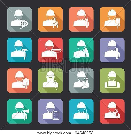 Set of construction worker flat style icons