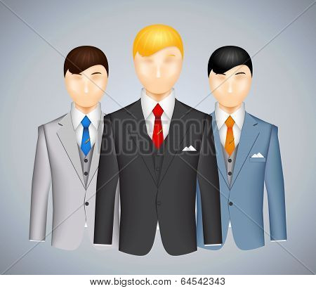 Trio of businessmen in suits