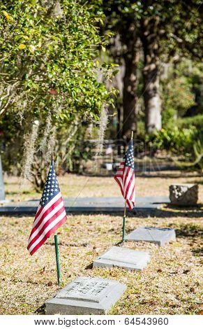 American Flags In Old Graveyard