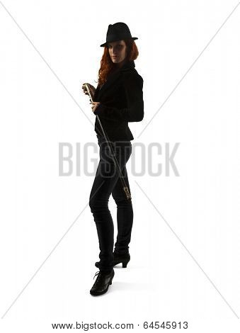 Portrait Of Female Magician Isolated Over White Background