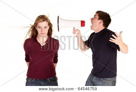 Boyfriend shouting at the girl, but she doesn't seem to care much about him