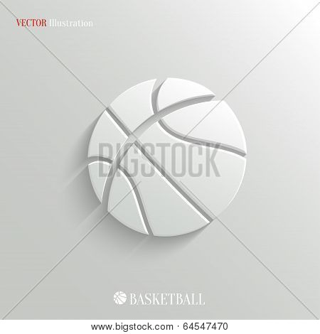 Basketball icon - vector white app button