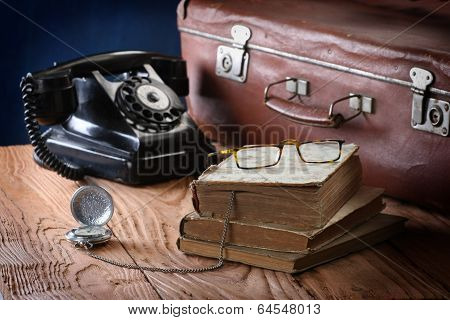 Vintage Phone, Suitcase, Watches And Old Books