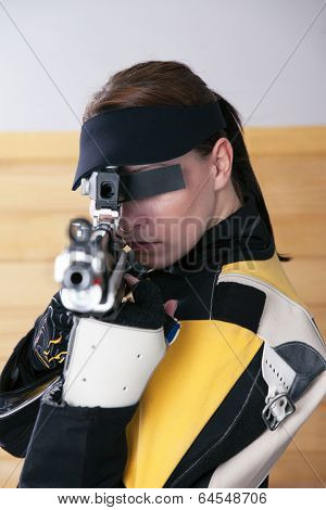 Female Athlete Doing Target Practice