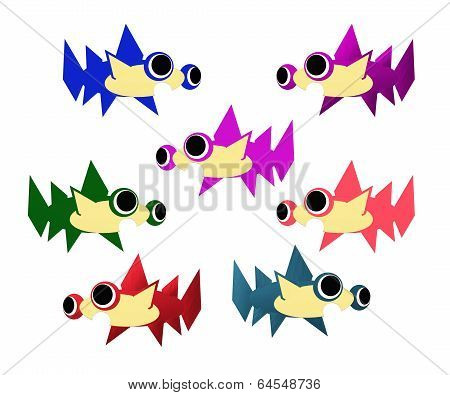 Seven colored hummer sharks