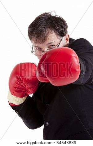 Business man fighting for his company