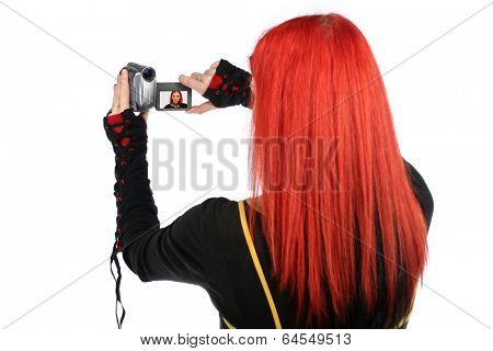 Teen recording with her video camera