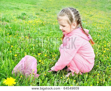 Cute Little Girl With Butterfly Net