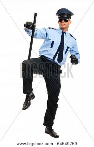 Policeman with police baton