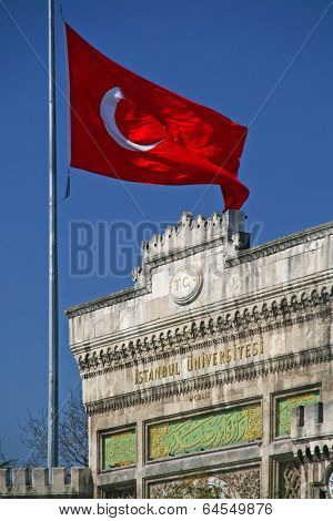 University and turkish flag in Istanbul