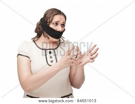 Plus Size Woman Gagged Stretching Hands To Something