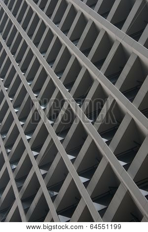 Skyscraper facade showing grid of concrete girders