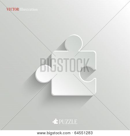 Puzzle Icon - Vector White App Button