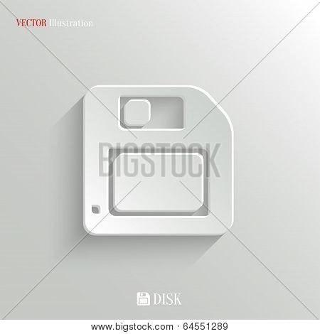 Floppy Diskette Icon - Vector White App Button