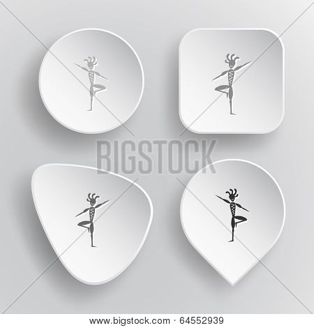 Ethnic little man as yogi. White flat raster buttons on gray background.
