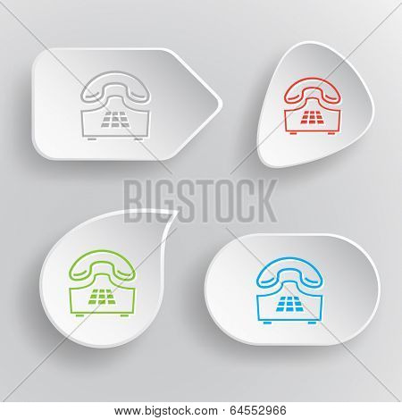 Push-button telephone. White flat buttons on gray background.