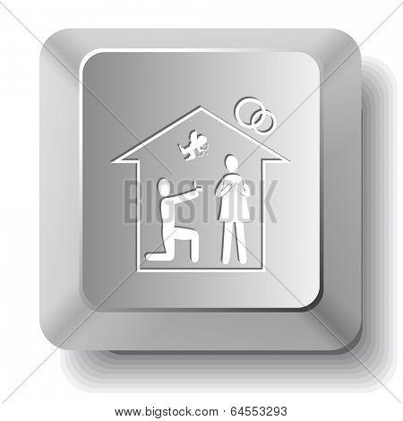 Home affiance. computer key.