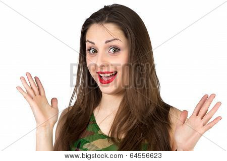Surprised Girl in camouflage shirt