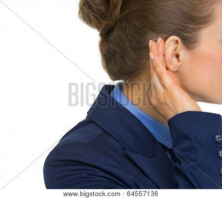 Closeup On Business Woman Listening