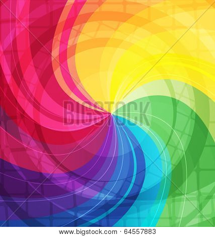 Rainbow bright background with rays. Vector illustraion