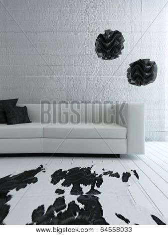 Picture of white couch standing in front of concrete wall