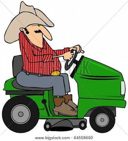 Cowboy on a riding lawnmower