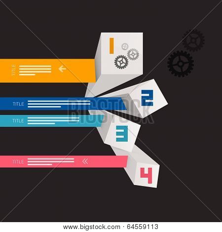 Four Vector Progress Steps for Tutorial, Modern 3d Infographics Layout