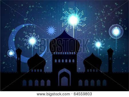 Vector Illustration of Mosque for Muslim Celebration