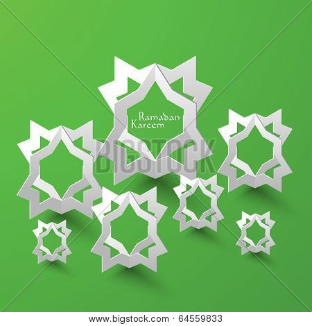 Vector 3D Muslim Pattern Paper Sculpture. Translation: Ramadan Kareem - May Generosity Bless You During The Holy Month.
