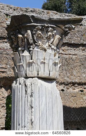 Tivoli, Italy - April 21, 2014: Ruin Of Ancient Corinthian Columns In Hadrian's Villa (villa Adriana