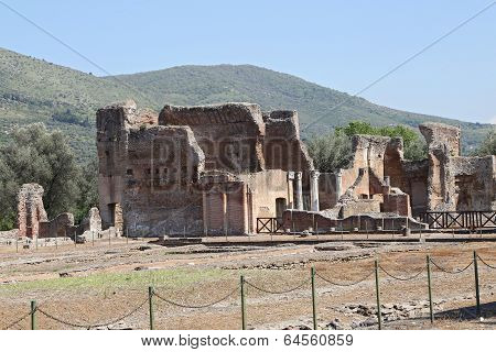 Tivoli, Italy - April 21, 2014: Ancient Ruins Of Hadrian's Villa (villa Adriana In Italian) Is A Lar