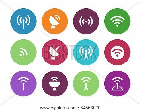 Radio Tower circle icons on white background.