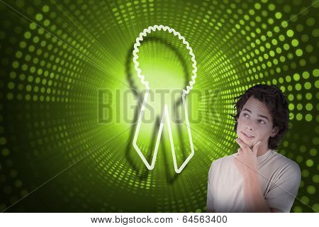 Composite image of merit badge and casual thinking man against green pixel spiral