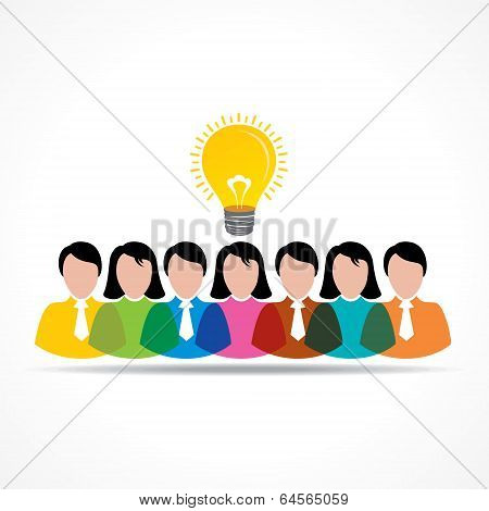 people team with idea bulb