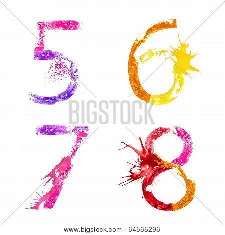 Vector paint splash font 5,6,7,8