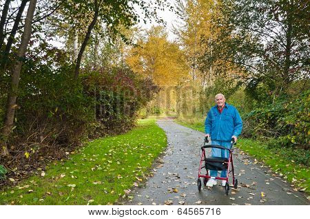 Senior Man With Walker In Park
