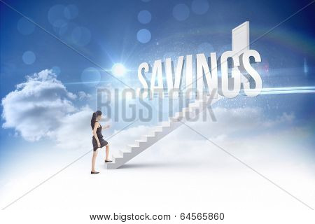 The word savings and businesswoman stepping up against steps leading to closed door in the sky
