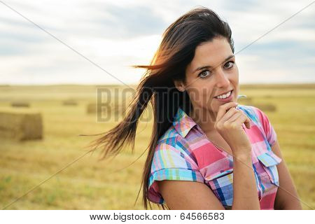 Confident Pensive Female Farmer