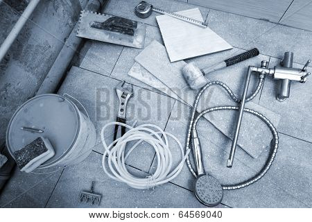 different tools for renovation in the bathroom