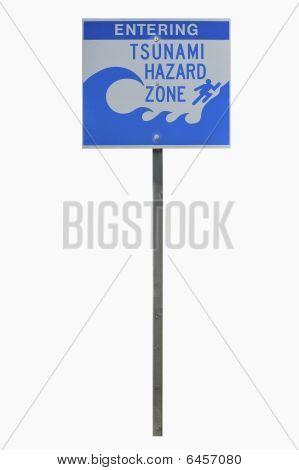 Real Tsunami Road Sign With Clipping Path.
