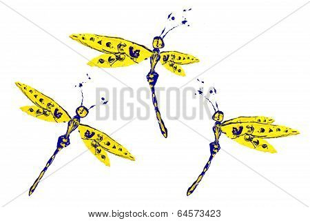 Blue Yellow Paint Made Dragonfly Set