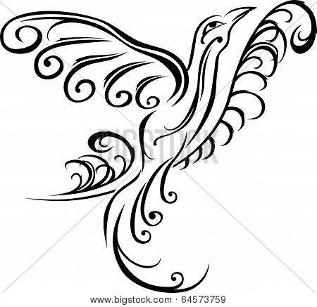 Bird on branch, black tattoo stencil