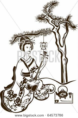 Traditional Japanese Geisha With Shamisen And Tea On Pine Background