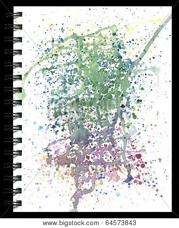 Splatter Pad Watercolor Texture On A Notepad Isolated On Black