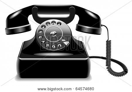 Realistic outdated black telephone isolated on white background.