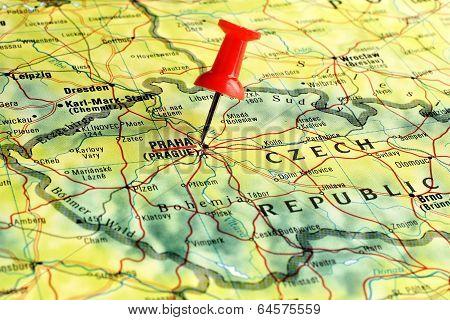 Prague map with pin