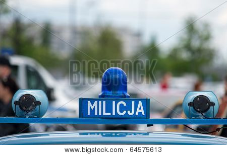 Polish Milicja (old Police) Sign On A Old Car