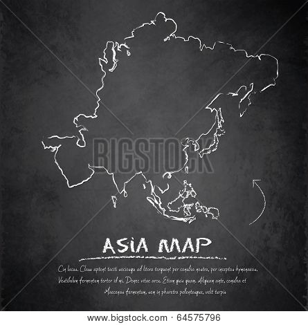 Asia map blackboard chalkboard vector