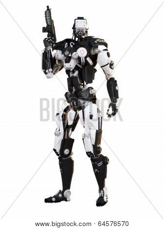 Robot Futuristic Police armored mech weapon on a white background