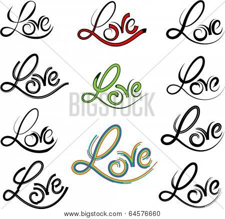 Calligraphic Love Tattoo Vector
